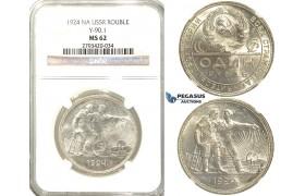 R63, Russia (Soviet Union) Rouble 1924, Leningrad, Silver, NGC MS62