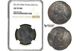 R632, Thailand, Rama V, 2 Att RS124 (1905) NGC AU55BN