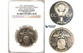 R64, Russia (Soviet Union) Rouble 1991 (First Manned Space Flight) NGC PF69 Ultra Cameo