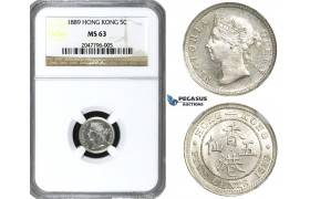 R644, Hong Kong, Victoria, 5 Cents 1889, Silver, NGC MS63