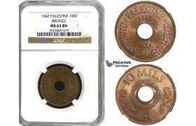 R645, Palestine, 10 Mils 1942, Bronze,  NGC MS63