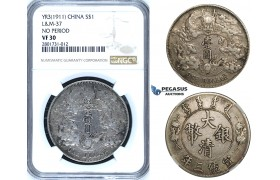R652, China, 1 Dollar Yr. 3 (1911) Silver, L&M 37 (No Period) NGC VF30