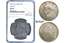 "R653, China, ""Fatman"" Dollar (Yuan) Yr. 3 (1914) Silver, L&M 63, NGC AU58"
