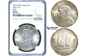 "R654, China, ""Junk"" Dollar Yr. 23 (1934) Silver, L&M 110, NGC MS62"