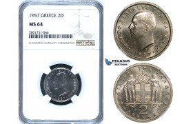R664, Greece, Paul I, 2 Drachmai 1957, NGC MS64