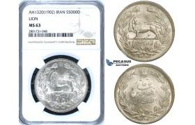 R666, Iran, Muzaffar al-Din Shah, 5000 Dinars AH1320 (1902) Silver, NGC MS63