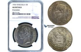 R672, Venezuela, 5 Bolivares 1936, Philadelphia, Silver, NGC AU Det.