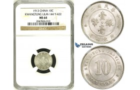 R675, China, Kwangtung, 10 Cents 1913, Silver, L&M 422, NGC MS64