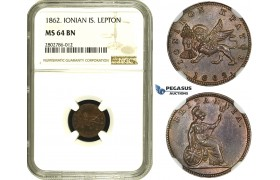 R677, Greece, Ionian Islands, 1 Lepton 1862, NGC MS64BN