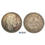 R68, France, Louis Philippe, 5 Francs 1840-B, Rouen, Silver, Nice w. Fine toning!