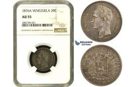 R682, Venezuela, 20 Centavos 1876-A, Paris, Silver, NGC AU55, Rare!