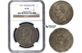 R685, Venezuela, 5 Bolivares 1921, Philadelphia, Silver, NGC VF35