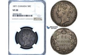 R688, Canada, Victoria, 50 Cents 1871, Silver, NGC VF20