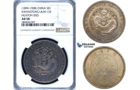 R691, China, Kwangtung, 7 Mace 2 Candareens (Dollar) ND (1890-1908) Silver, L&M 113 Heaton Dies, NGC AU58, Pop 2, Very Rare!