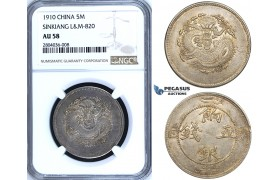 R692, China, Sinkiang, 5 Miscals 1910, Silver, L&M 820, NGC AU58