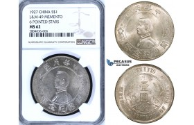 "R693, China, ""Memento"" Dollar 1927, Silver, L&M 49, NGC MS62"