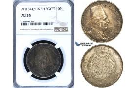 R695, Egypt, Fuad, 10 Piastres AH1341/1923-H, Heaton, Silver, NGC AU55