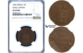 "R699, Greece, Othon, 10 Lepta 1849 ""Small Crown"", Athens, NGC XF45BN"