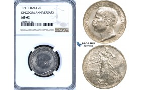 "R700, Italy, Vit. Emanuelle III, 2 Lire 1911-R ""Kingdom Anniversary"", Rome, Silver, NGC MS62"