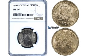 R703, Portugal, 1 Escudo 1952, NGC MS66