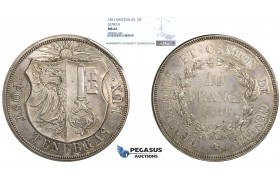 R706, Switzerland, Geneva, 10 Francs 1851, Silver, NGC MS62, Rare!