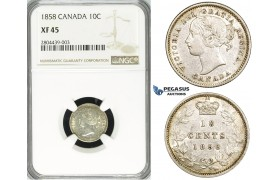 R712, Canada, Victoria, 10 Cents 1858, Silver, NGC XF45