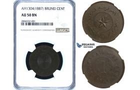 R716, Brunei, Sultan Hashim Jalal, 1 Cent AH1304 (1887) NGC AU50BN