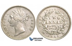 R73, East India Company, Victoria, 2 Annas 1841, Silver, Nice (Few marks)