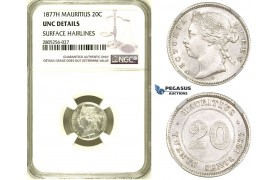 R730, Mauritius, Victoria, 20 Cents 1877-H, Silver, NGC UNC