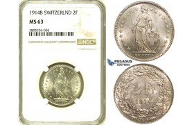 R733, Switzerland, 2 Francs 1914-B, Bern, Silver, NGC MS63
