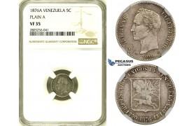 R735, Venezuela, 5 Centimos 1876-A, Paris, Silver, NGC VF35 (No serif)
