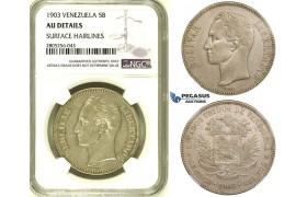 R736, Venezuela, 5 Bolivares 1903, Philadelphia, Silver, NGC AU Det.