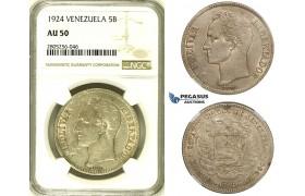 R738, Venezuela, 5 Bolivares 1924, Philadelphia, Silver, NGC AU50