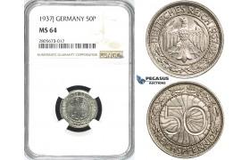 R741, Germany, Third Reich, 50 Reichpfennig 1937-J, Hamburg, NGC MS64
