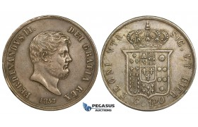 R744, Italy, Naples & Sicily, Ferdinand II, Piastra de 120 Grana 1857, Silver, Toned gVF