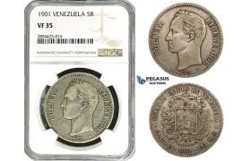 R746, Venezuela, 5 Bolivares 1901, Paris, Silver, NGC VF35, Rare!