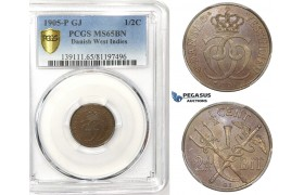 R749, Danish West Indies, Christian IX, 1/2 Cent (2-1/2 Bit) 1905, Copenhagen, PCGS MS65BN