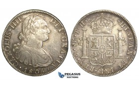 R75, Mexico, Charles IV, 8 Reales 1805 Mo TH, Mexico City, Silver, Toned w. Good Details!