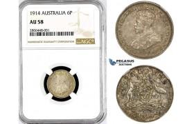 R765, Australia, George V, Sixpence (6P) 1914, Silver, NGC AU58