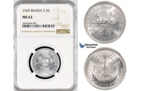 R766, Biafra, 2 1/2 Shillings 1969, NGC MS63