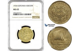 R776, Estonia, 1 Kroon 1934, NGC MS65