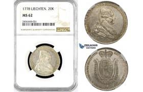 R784, Liecthenstein, Franz Joseph, 20 Kreuzer 1778, Vienna, Silver, NGC MS62
