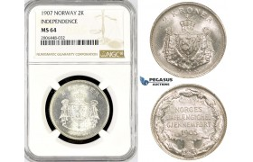 "R785, Norway, 2 Kroner 1907 ""Independence"" Silver, NGC MS64"