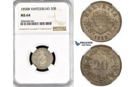 R793, Switzerland, 20 Rappen 1858-B, Bern, Silver, NGC MS64