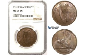 R814, Ireland, Penny 1931, NGC MS64BN