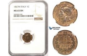 R815, Italy, Vit. Emanuelle II, 1 Centesimo 1867-M, Milan, NGC MS65BN