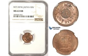R816A, Japan, Meiji, Rin Yr. 7 (1874) NGC MS63RB