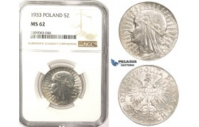 R819, Poland, 5 Zlotych 1933, Warsaw, Silver, NGC MS62