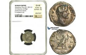 R82, Roman Empire,  Divus Antonius Pius (138-161 AD) AR Denarius (2.84g) Rome, Posthumous issue, struck 161 AD under Marcus Aurelius, DIVO PIO, NGC Ch XF