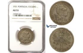R820, Portugal, 1 Escudo 1931, NGC AU53, Rare!